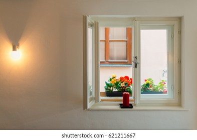 Nice window with flowers and lighting bulb