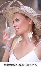 Nice woman with glass of champagne portrait