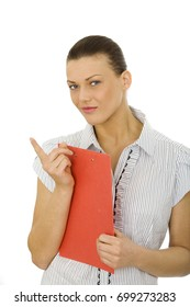 Nice woman holding a red clipboard