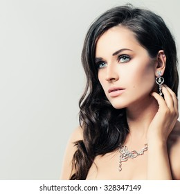 Nice Woman with Jewelry Diamond Necklace and Earrings