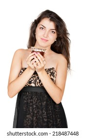 Nice young woman with cup of coffee on white background