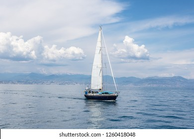 Nice,France 17 December 2018, Sailing Yacht sail in  Mediterranean Sea with cloudy sky at sunny day