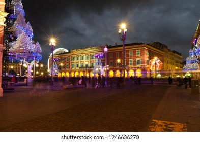 NICE,FRANCE - JAN.3: Christmas decoration and giant ferry whell in the place massena  on the 3th of january 2011 in Nice, France.