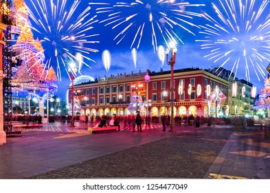 NICE,FRANCE - JAN.3: Christmas decoration and giant ferry whell in the place massena  on the 3th of january 2011 in Nice, France. Nice is the capital of cote azur with million of tourists visiting eve