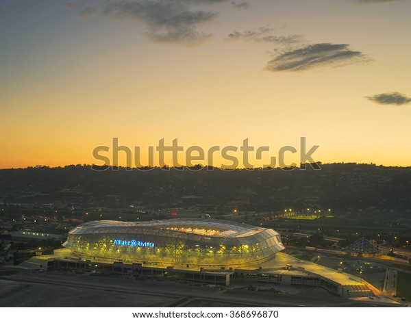 NICE,FRANCE-OCTOBER 16: nightview of the Allian Riviera Stadium that will host some matches of the Eurocup 2016, in Nice, France on the 16t of october 2013
