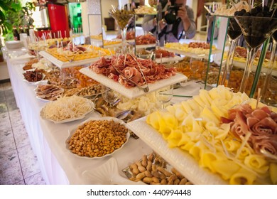 Nicely decorated, meat and fruit wedding reception