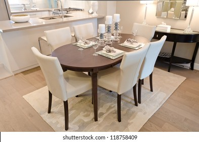 Nicely decorated and served living ( lunch ) room table.