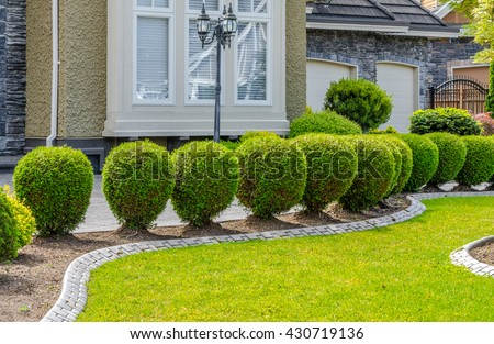 Nicely Trimmed Bushes Lawn Front House Stock Photo Edit