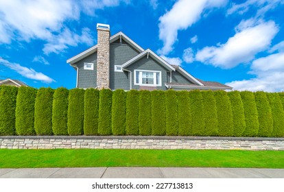 """Nicely trimmed """"Green fence ' from evergreen plants dividing the street and private property. Keeps privacy and security. Landscape trimming design."""