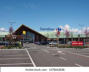 NICHELINO, ITALY - CIRCA APRIL 2019: Carrefour supermarket