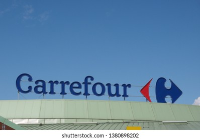 NICHELINO, ITALY - CIRCA APRIL 2019: Carrefour supermarket sign