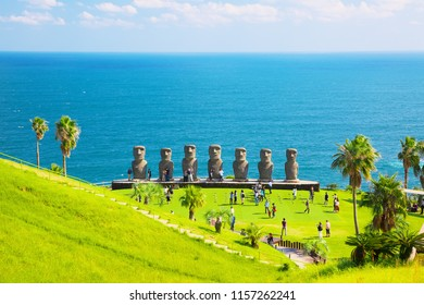 NICHINAN, JAPAN - OCT 30: Moai statues on Oct 30, 2016 in Nichinan, Japan. They are the only statues in the world which were replicated with the permission from the municipality of Easter Island.