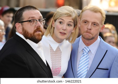 """Nick Frost, Rosamund Pike and Simon Pegg arrives for the world premiere of """"The World's End"""" at the Empire, Leicester Square, London. 10/07/2013"""