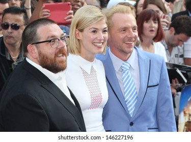 Nick Frost, Rosamund Pike and Simon Pegg arriving for The World's End World Premiere, at Empire Leicester Square, London. 10/07/2013