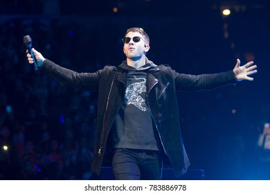 Nick Jonas performing at the Power 96.1 iHeartRadio 2017 Jingle Ball in Atlanta Georgia on December 15th 2017 at the Phillips Areana