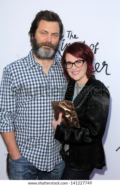 "Nick Offerman and Megan Mullally at ""The Kings of Summer"" Los Angeles Special Screening, Arclight, Hollywood, CA 05-28-13"