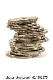 Nickel coins stack isolated on white background