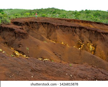 Nickel ore rich red soil, New Caledonia, Melanesia.
