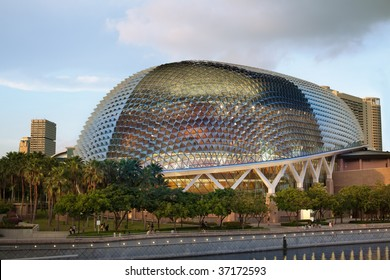 """Nicknamed """"Durian"""" by Singaporeans because of its spikey twin domes.  Esplanade on the Bay is an international center for performance arts."""