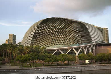 """Nicknamed """"Durian"""" by Singaporeans because of its spikey twin domes.  Esplanade on the Bay is an international center for performance and visual arts."""