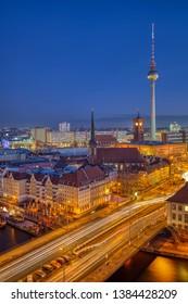 The Nicolaiviertel and Berlin Alexanderplatz at dawn