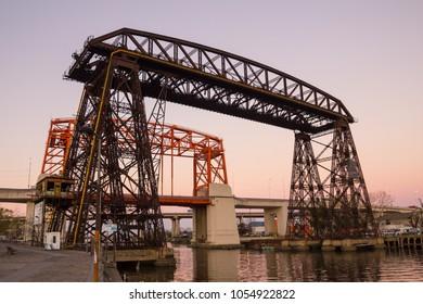 Nicolas Avellaneda Bridge, in La Boca, Buenos Aires, this is a very popular tourist destination in Buenos Aires, Argentina