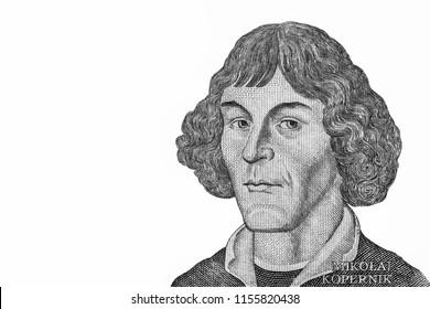 Nicolaus Copernicus, Genius renaissance, mathematician and astronomer. Portrait from Poland  Banknotes.
