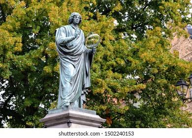The Nicolaus Copernicus Monument in Torun - home town of astronomer Nicolaus Copernicus. Torun, Poland.