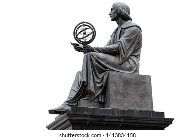Nicolaus Copernicus Monument in Warsaw, Poland, bronze statue of a Polish astronomer from 1830, isolated on white background.