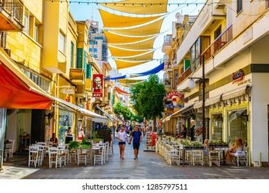 NICOSIA, CYPRUS, AUGUST 23, 2017: Crowd is moving through Ledra street - the main shopping avenue of Nicosia, Cyprus