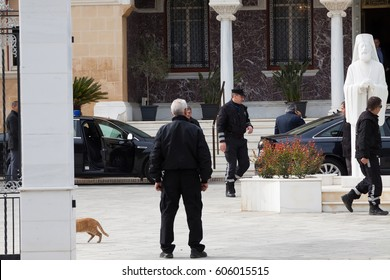 NICOSIA, CYPRUS - FEBRUARY 14, 2017: Red cat walking in the Archbishop's Palace