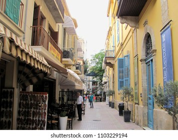 Nicosia, Cyprus - Jun 7, 2014: Little shops in Nicosia, Cyprus