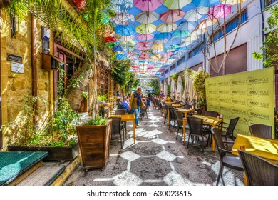 Nicosia, Cyprus - March 07, 2017 : A street  HDR view in Nicosia. Nicosia is populer tourist destination in Northern Cyprus.