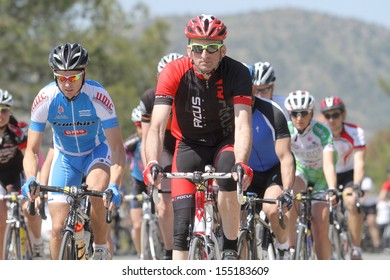 NICOSIA, CYPRUS - MARCH  23: Cyclists compete in the 2012 Annual cycling tour of Cyprus in Nicosia on March 23,2012
