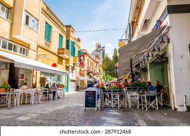 NICOSIA, CYPRUS - MAY 29:  People enjoying a summer in cafes at Onasagorou street in central Nicosia, Cyprus.