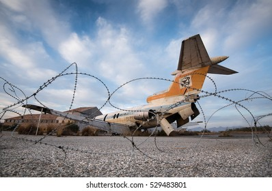 Nicosia, Cyprus -  November 11 2016: Abandoned and destroyed  Cyprus airways aircraft at Nicosia airport in the buffer zone in Cyprus