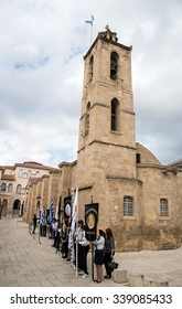 NICOSIA, CYPRUS - OCTOBER 28:  Students with their school flags and symbols standing outside the church of Agios Ioannis for the celebrations of the 28 of October in Nicosia Cyprus  2015.