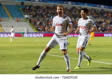 Nicosia, Cyprus - Semptember 26, 2017: The players of Tottenham Harry Kane (L), Heung-Min Son(R) celebrate during the UEFA Champions League game between APOEL VS Tottenham Hotspur