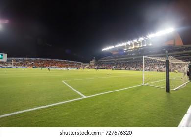 Nicosia, Cyprus - Semptember 26, 2017: The Pancyprian Gymnastic Association Stadium (GSP Stadium) during the UEFA Champions League game between APOEL VS Tottenham Hotspur