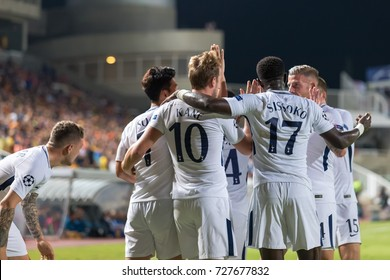 Nicosia, Cyprus - Semptember 26, 2017: The players of Tottenham celebrate during the UEFA Champions League game between APOEL VS Tottenham Hotspur