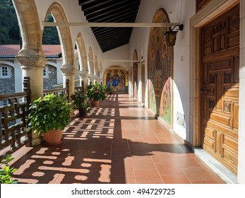 Nicosia District, Cyprus - June 13, 2016: Inside of Kykkos Monastery