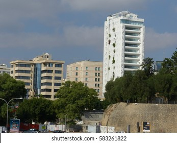 Nicosia / Jean Nouvel Tower / picture showing the Jean Nouvel Tower or Tower 25 in Nicosia, modern high rise office building in the old town, taken in August 2015