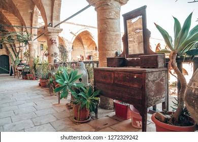 NICOSIA, NORTHERN CYPRUS- OCTOBER 30, 2018 : View on Buyuk Han (the Great Inn), largest caravanserai in Cyprus. Nicosia