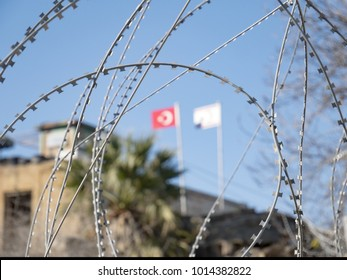 Nicosia Turkish occupation with flag and Concertina wire or Dannert Wire warzone