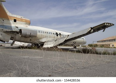 NICOSIA,CYPRUS- MARCH 26,2012:Airplane at the abandoned airport of Nicosia.The airport was closed after the Turkish invasion in 1974. Nicosia 26th of March 2012,Cyprus