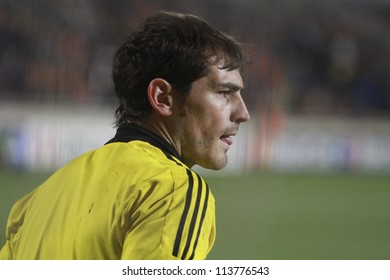 NICOSIA,CYPRUS -MARCH 27: Iker Casillas of Real Madrid during the UEFA Champions League quarter-final match between APOEL and Real Madrid at GSP Stadium on March 27, 2012 in Nicosia, Cyprus.