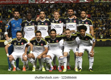 NICOSIA,CYPRUS- OCTOBER 23,2012:Fenerbahce team during the game between Ael Limassol Fc and Fenerbahce for the Uefa Europa League in Nicosia on October 23,2012
