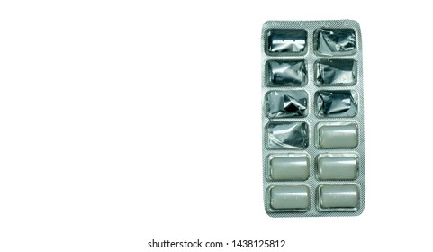 Nicotine chewing gum in blister pack isolated on white background