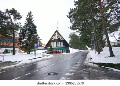 Nida city in winter, Lithuania. Nida is a resort town in Lithuania. Located on the Curonian Spit between the Curonian Lagoon and the Baltic Sea. UNESCO heritage