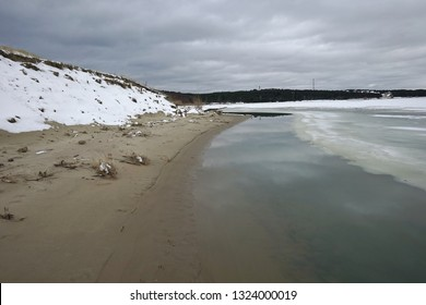 Nida - Curonian Spit and Curonian Lagoon, Nida, Klaipeda, Lithuania. Nida harbor. Baltic Dunes. UNESCO heritage. Nida is located on the Curonian Spit between the Curonian Lagoon and the Baltic Sea in